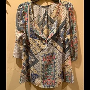 Francesca's | colorful patchwork design top | L